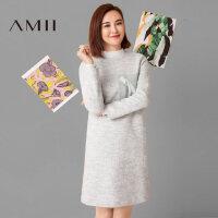 【AMII超级大牌日】 莫小棋合作款2016冬纯色个性毛呢连衣裙短裙11694714