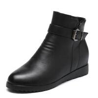中年短靴冬季保暖防滑大码女鞋 中老年人妈妈鞋棉鞋真皮老人女靴