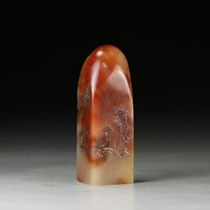 寿山老性巧色红芙蓉石  精雕山林论道薄意印章  jd2516