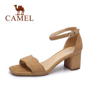 Camel/骆驼女凉鞋 夏季时尚简约凉鞋女 韩版舒适露趾方跟凉鞋