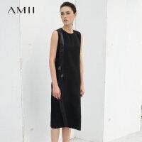 Amii[极简主义]夏装2017新款缎带拼接丝质黑色无袖连衣裙11783421
