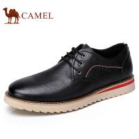 camel 骆驼男鞋2017秋季新品日常休闲男皮鞋青年系带休闲男鞋