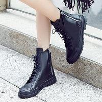 娜箐箐冬新款欧美街头牛皮圆头平跟短靴女鞋真皮中跟马丁靴女