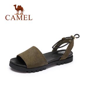 camel骆驼女鞋 休闲韩版绒面凉鞋女 舒适平跟可调松紧带凉鞋