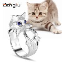 990足银饰品猫咪戒指 女动物开口时尚手工宽指环食指日韩首饰潮人