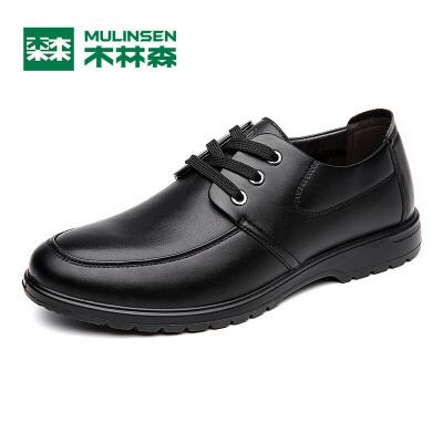 木林森男鞋 春夏季新品男士商务休闲皮鞋 低帮系带百搭男皮鞋05367341