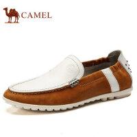 骆驼牌男鞋 春季套脚鞋头层牛皮低帮日常休闲豆豆鞋流行