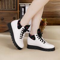 冬季高帮加绒女鞋运动休闲厚底内增高平底松糕学生韩版潮棉鞋