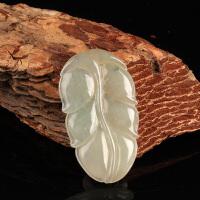 天然翡翠叶子雕刻件 大业有成吊坠 XZ011