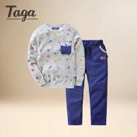 TAGA男童春装套装2017新款韩版潮衣儿童运动套装男宝宝两件套圆领套装