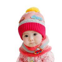 男女童帽子围巾2件套 宝宝韩版潮帽围巾2件套 婴儿帽子毛线帽男女宝宝帽子保暖儿童帽围巾2件套