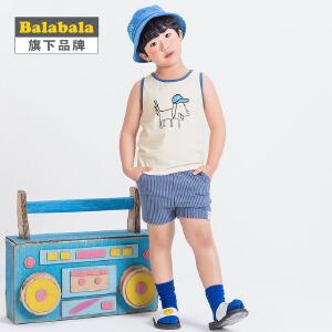 【6.26巴拉巴拉超级品牌日】巴拉巴拉旗下 巴帝巴帝男童夏季套装2017新儿童韩风短裤针织套装