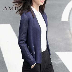 【AMII超级大牌日】[极简主义]2017春百搭休闲撞色绣线装饰开襟毛针织衫11730122
