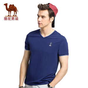 骆驼男装 2017夏季新款青年流行V领时尚印花休闲短袖T恤衫男上衣