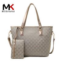 莫尔克(MERKEL)新款时尚印花女士子母包时尚百搭单肩斜跨帆布女大包