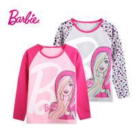 【满200减100】Barbie芭比女童装秋装打底衫长袖T恤中大童纯棉卡通印花圆领T恤