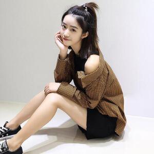 【当当年中庆】新款韩版女装修身显瘦假两件中长款格子衬衫