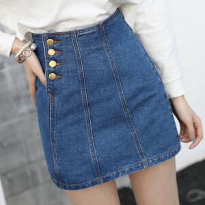 韩版学生显瘦高腰牛仔短裙女百搭潮