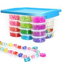 罐收纳盒装DIY水晶串珠3-6岁女孩儿童益智手工制作手链项链穿珠子弱视训练玩具