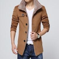2014新款秋冬男装立领羊羔毛呢料夹克外套休闲立领风衣大衣男