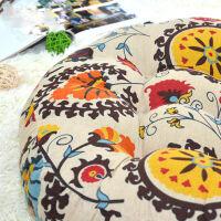 御目 沙发垫 棉麻加厚大蒲团坐垫阳台飘窗垫布艺藤椅地板打坐日式圆榻榻米垫子