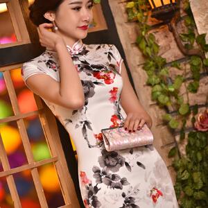 【当当年中庆】2017夏款绸显瘦旗袍裙时尚改良复古短款旗袍