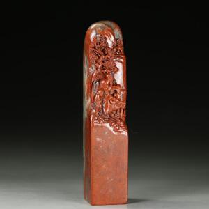 朱砂红老挝高山冻石 精雕山林雅趣大材印章 jd2791