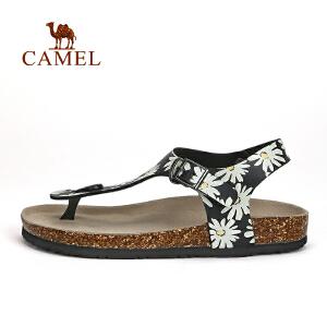 camel骆驼户外女款凉鞋 时尚印花舒适沙滩鞋轻便干爽凉鞋