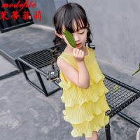 茉蒂菲莉 连衣裙 2017新款雪纺宝宝裙子限时抢韩版时尚小女孩甜美无袖公主裙童装