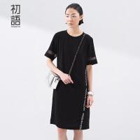 [夏上新]初语夏装宽松雪纺两件套连衣裙女中长款短袖大码显瘦女8622432012C