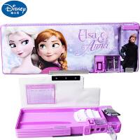 迪士尼小学生女童冰雪奇缘公主多功能文具盒韩版创意卡通儿童塑料铅笔盒83001-B