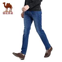 骆驼男装合身长裤子 2017春季新品男士商务休闲拉链中腰牛仔裤男