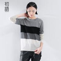 初语冬季新款 罗纹圆领撞色几何拼宽松接羊绒衫女 8540423043