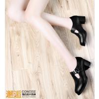 黑色高跟鞋粗跟古奇天伦新款春天韩版百搭皮鞋英伦风女鞋单鞋8163