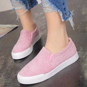 新款休闲鞋女帆布鞋套脚懒人鞋韩版简约乐福鞋低帮透气厚底女鞋学生鞋