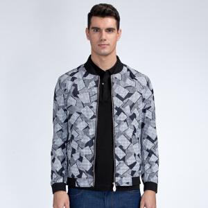 才子男装(TRIES)夹克 男士2017新款创意几何图案简约修身百搭时尚休闲夹克 三色可选