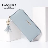 【支持礼品卡】LANVERA 真皮女士长款钱包2017新款韩版流苏手拿包女头层牛皮钱夹 L6902