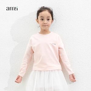 amii童装2017春新款女童长袖T恤儿童中大童印花打底衫休闲上衣