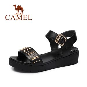 camel骆驼女鞋 春夏新品 休闲轻便女鞋潮厚底真皮铆钉凉鞋
