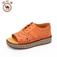 骆驼牌女鞋 夏季新款女士休闲单鞋套脚鞋 镂空休闲凉鞋平跟