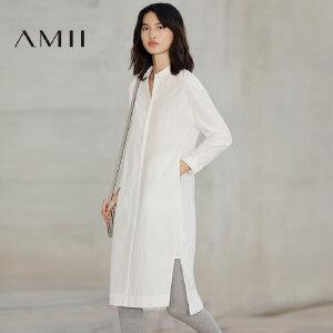 【预售】Amii2017春新大码休闲翻领半襟开衩宽松连衣裙11770329