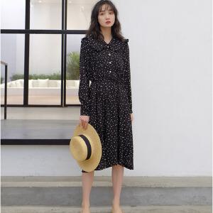 白领公社 连衣裙 女2017夏季新款女士韩版个性潮流喇叭袖裙子女式修身显瘦雪纺印花裙装时尚女装
