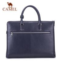 Camel骆驼男包男士 手提包商务休闲牛皮男版横款公文包男包包