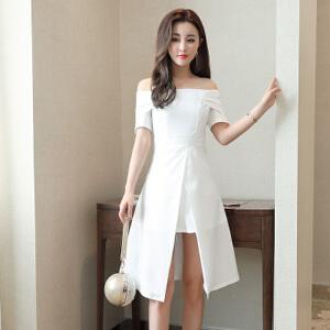 【当当年中庆】2017夏装新款露肩一字领收腰连衣裙显瘦A字短裙