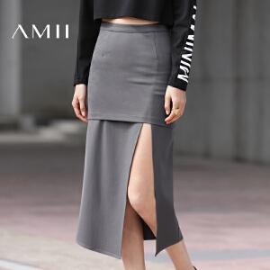 【预售】Amii2017春新款纯色包臀修身中长款假两件开叉半身裙女