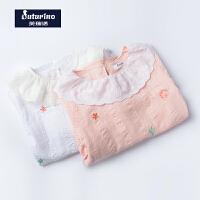 芙瑞诺童装春季新款女童可爱刺绣小翻领海洋元素纯棉收褶袖口衬衫