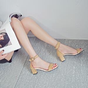 2017新款韩版粗跟凉鞋女夏季中跟鞋性感百搭罗马鞋一字带夏天女鞋ZR-186
