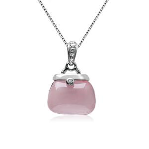 芭法娜 包��幸福 天然芙蓉石粉水晶时尚吊坠 送银项链一条