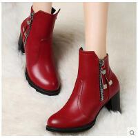 百年纪念黑色马丁靴潮粗跟女靴子高跟短靴春秋季欧美单靴圆头女鞋
