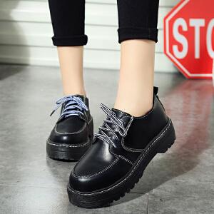 妃枫霏春季时尚英伦休闲鞋厚底系带中跟女鞋圆头简约舒适女鞋